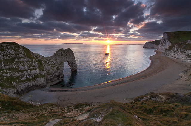 Sunset at Durdle Door - Jurassic Coast, Dorset, England, UK by David Briard on Flickr.