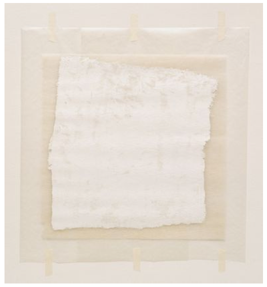 Robert Ryman, Surface Veil,  Oil on fiberglass with waxed paper frame and masking tape, fiberglass sheetvia MoMa