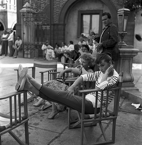 Audrey Hepburn on the set of War and Peace, 1955