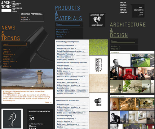 Architonic highlights great design for architecture and industrial design. I have been following them for quite some time and some of the work they display is mind blowing. Also the layout of their website and interactions is quite nice :)