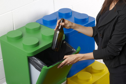 ecolocoblog:  LEGO recycling containers by flussocreative created by italian design studio flussocreative 'leco' is a system of recycling and storage containers, utilizing the look and practical design of LEGO building blocks.the collection currently includes four polymer boxes: two smaller models in blue and green (for aluminum and glass recycling respectively) and two larger size containers in white and yellow (for paper and plastic). while these modules are designed specifically for the divisions and colour coding of the italian recycling system, 'leco' can be easily modified for other recycling programs, or used for other kinds of storage.the LEGO-like form of each piece enables the modules to be stacked stably in a range of configurations, since each box pulls open from the front and not the top as in many existing recycling containers.