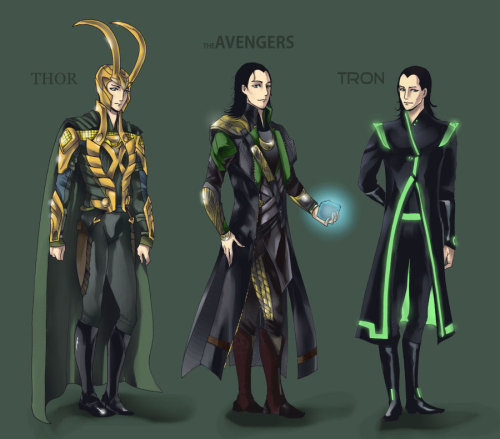 "open-the-bifrost:  Loki Outfits by ~chocoqueen21  ""Thor 2: Tron"" is going to be the best!!!No but seriously I wants that coat!"