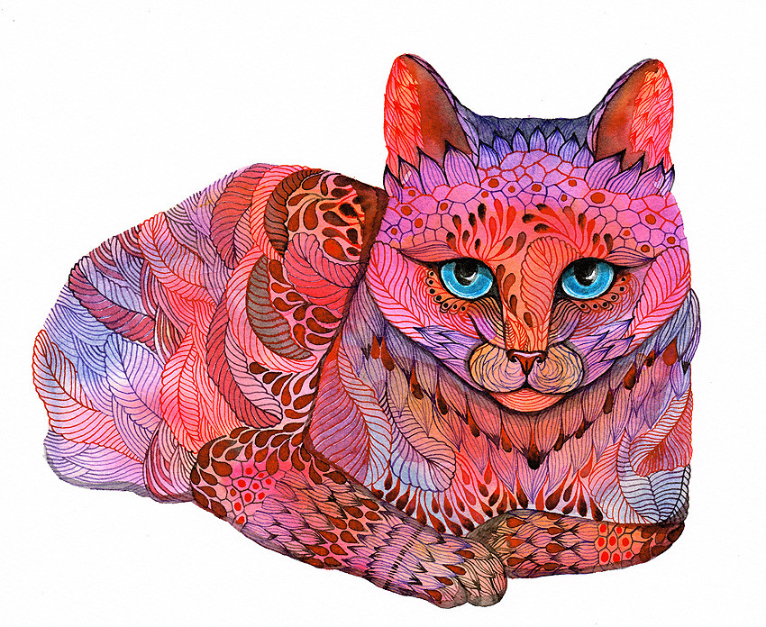 Sunset cat Ola Liola http://www.etsy.com/people/tevagallery