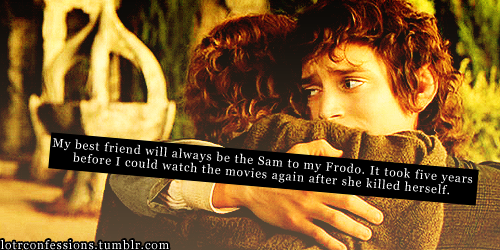 lotrconfessions:  My best friend will always be the Sam to my Frodo.  It took five years  before I could watch the movies again after she killed herself.   Oh gosh, I'm seriously crying now :'(