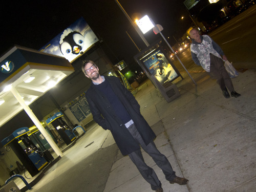 My pal photographer Darren Ankenman in the street on La Brea last night.  Photo by Brad Elterman