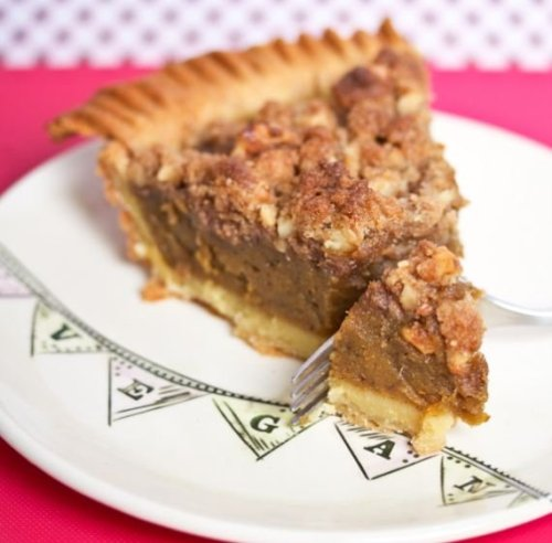 "gardenofmouthings:  fuckyeavegans:    Dessert: Wolffie's Pumpkin Pie (makes 1 pie)""I'm thankful for pumpkins, for sugar and for this pie. Don't worry that it won't look ready when you first take it out of the oven—it sets as it cools."" Topping: 1⁄4 cup sugar 1⁄4 cup flour 1⁄2 tsp ground cinnamon 2 tbsp vegan margarine 1⁄4 cup walnuts or pecans, finely chopped Filling: 1 14-oz can unsweetened pumpkin purée 1⁄2 cup vegan ""milk"" 1⁄4 cup cornstarch 1⁄2 cup maple syrup 1⁄2 tsp salt 1⁄4 cup sugar 1 tsp ground cinnamon 1 tsp ground ginger 1⁄4 tsp allspice 1 tsp vanilla extract 1 9-in pie crust Preheat oven to 375°F.  In a small bowl, stir together  topping ingredients. Set aside.  In a food processor, blend together unsweetened pumpkin puree, vegan ""milk"", cornstarch, maple syrup, salt, sugar, cinnamon, ground ginger, allspice and vanilla extract until smooth.  Pour pumpkin mixture into pie crust. Sprinkle topping evenly over top and bake for 40–45 minutes. Remove from oven and let cool. Serve at room temperature.   I just made this today and it is INCREDIBLE   Note: Pastries are part of the Playful design only.  …But I make an exception for Pumpkin Pie :3 It'd be a seasonal in-house made specialty, along with apple pie, for every store design."