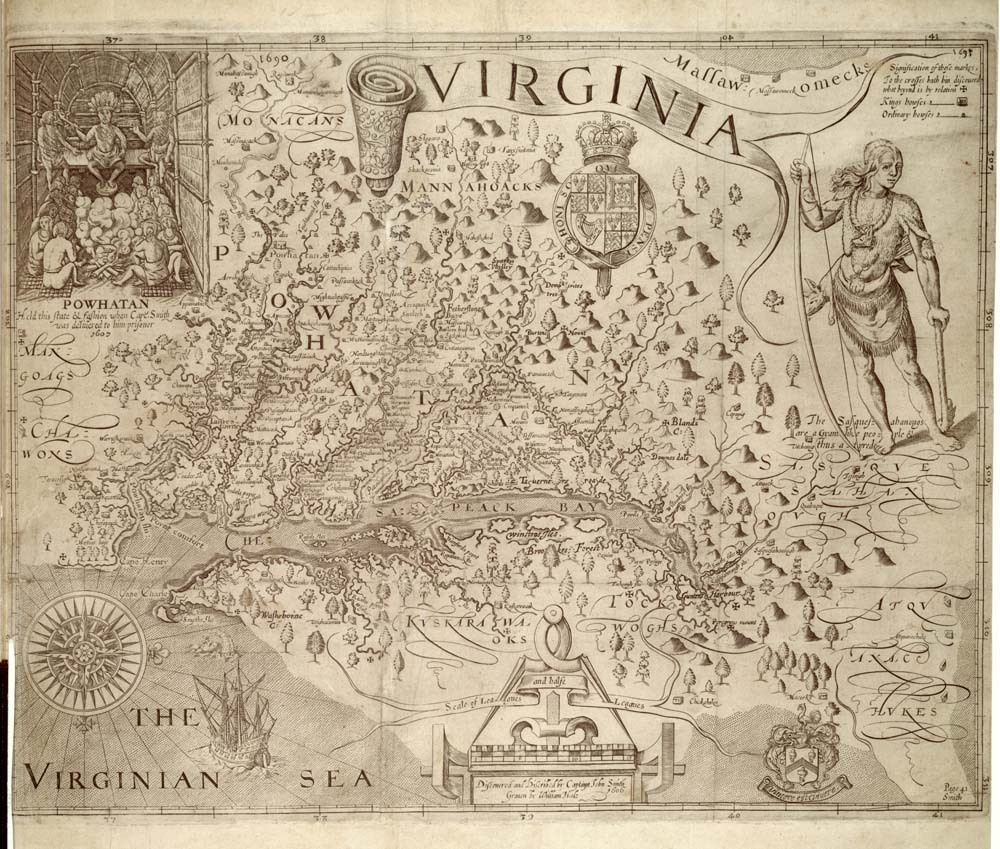 The Virginia Colony, Based on John Smith's Description, London, 1624.