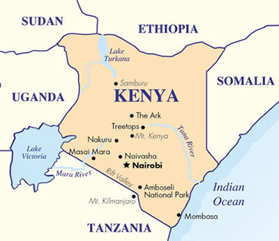 Kenya It borders Sudan to the north, the warring Somalia to the north-east area, Uganda to the western side, Tanzania in the south and Indian Ocean to the south-east.