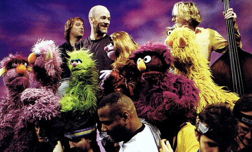 Shiny Happy People Monsters behind the scenes on R.E.M.'s Sesame Street appearance :: scanned from Sesame Street: A Celebration :: Black Dog and Leventhal Publishers :: 2009