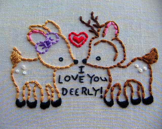 tumblah:  love you deerly by kunderwood {stitchy stitcherson} on Flickr.
