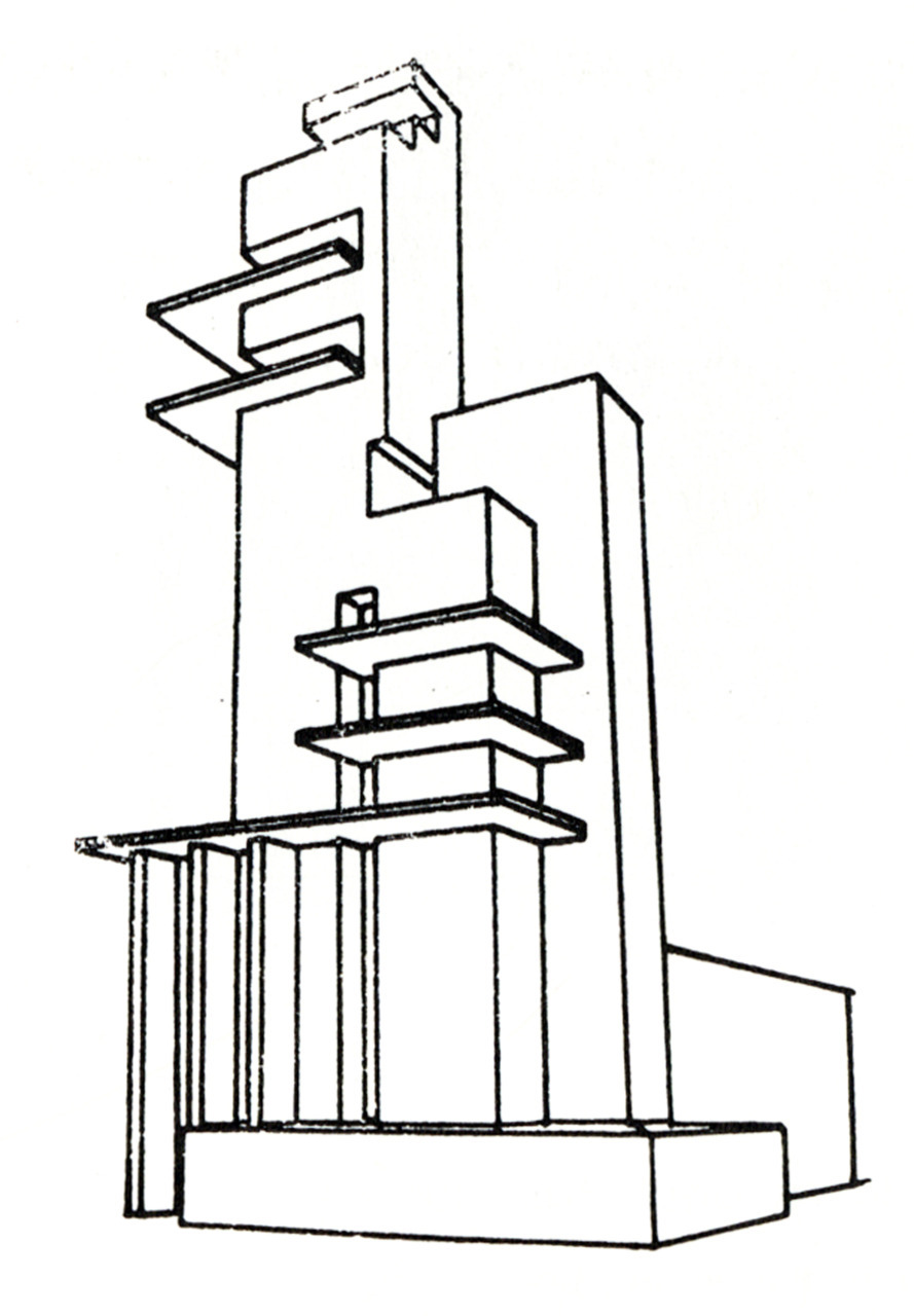 archiveofaffinities:  Marcel Janco, Volumetric Study for a Skyscraper, 1925