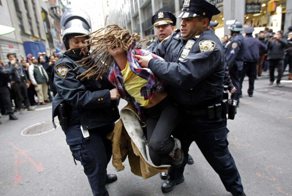 "Bag's Take-Aways from #OWS #N17:  Dreadful.   (photo: Mike Segar/Reuters caption: An Occupy Wall Street demonstrator is arrested by New York City Police during what protest organizers called a ""Day of Action"" in New York November 17, 2011. Hundreds of Occupy Wall Street protesters marched through New York's financial district toward the stock exchange on Thursday to protest economic inequality at the heart of American capitalism.) ————— Topping LIFE.com's 2011 list of Best Photo Blogs, follow us at: BagNewsNotes; BAG Twitter; BAG Facebook; Bag by Email."