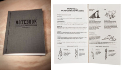 "Tanner Goods - Charcoal Notebook ""Their notebooks are assembled by hand in our studio, contain 48 graph paper pages, and are chock full of handy tidbits of information, ranging from conversion tables to animal tracks to common knots and ties. We think you'll find them useful, or at the very least, amusing."""