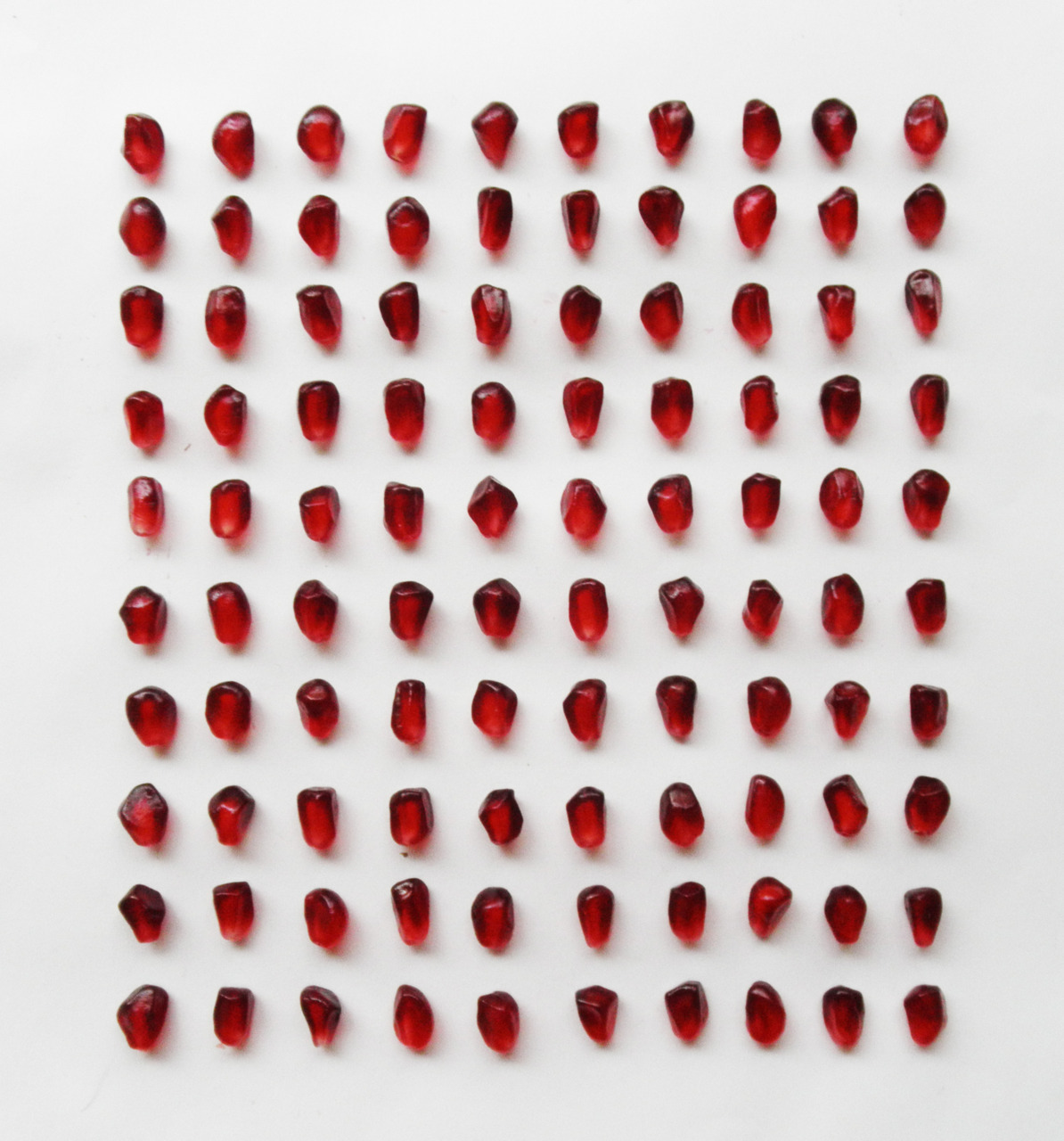 SUBMISSION: 100 pomegranate seeds, organized neatly.