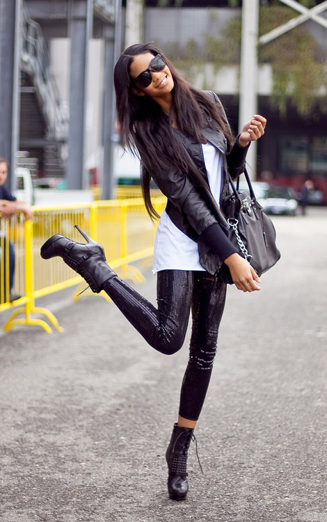 Black sequined leggings #nice  fashionistanextdoor:  more sequined pant inspiration. (via Black Sequined Leggings — StyleFrizz)