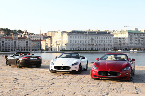 Pick your color. Featuring Maserati GranCabrio Sport in black, white and red.