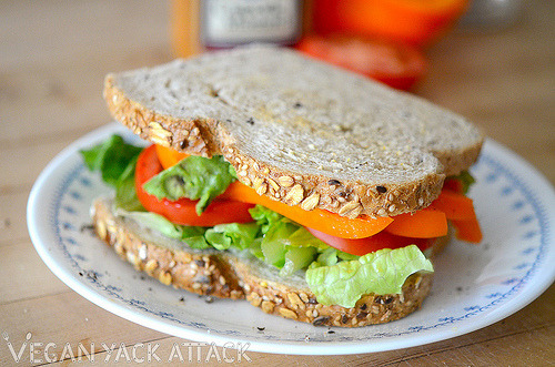 Keepin' it simple and super delicious: A veggie sandwich on toasted whole grain bread! Read about it at Vegan Yack Attack!
