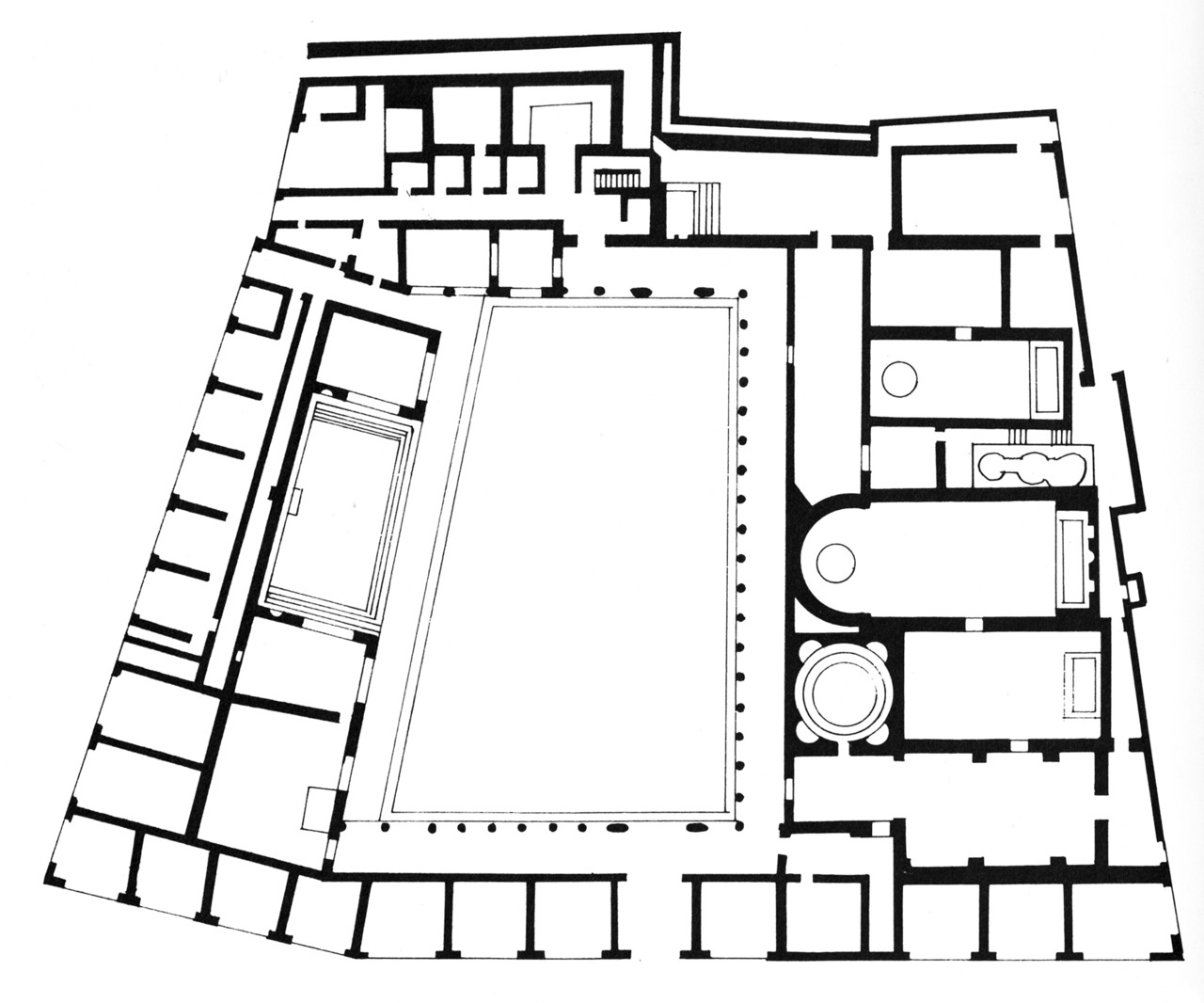 Black & White Plans [267]  archiveofaffinities:  Stabian Baths, Plan, Pompeii, Second Century B.C.