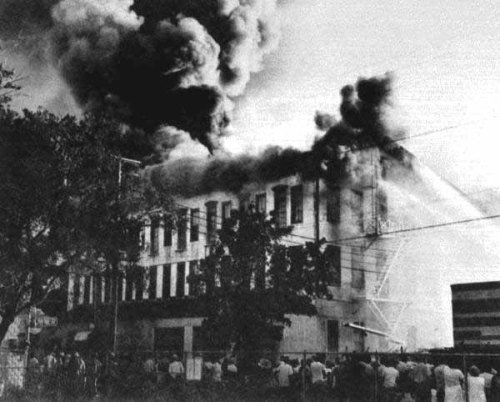 Jefferson Hotel in flames, 1957. Source: Dale M. McDonald Collection