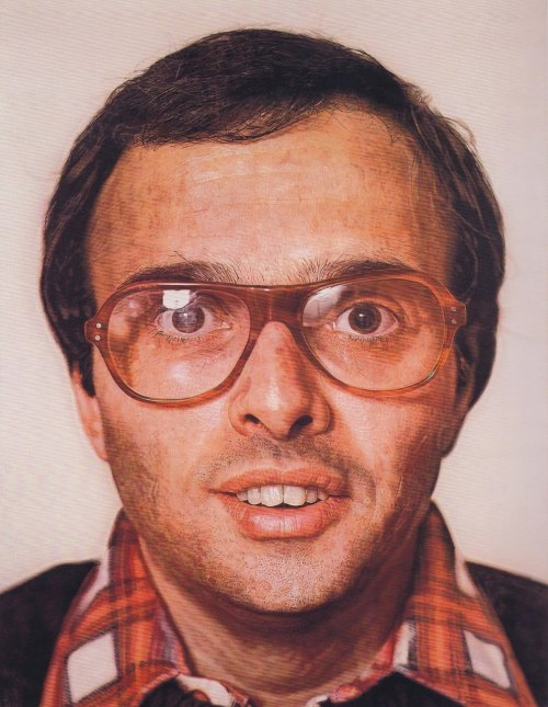 Chuck Close, Mark, 1978 This took fourteen months to complete, and used a layered paint technique that mimicked computer design programs.  This man is so eager.