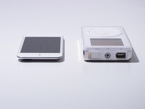 A decade of evolution Original iPod from 2001 and iPod touch from 2010.