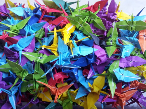 Tiny colourful cranes