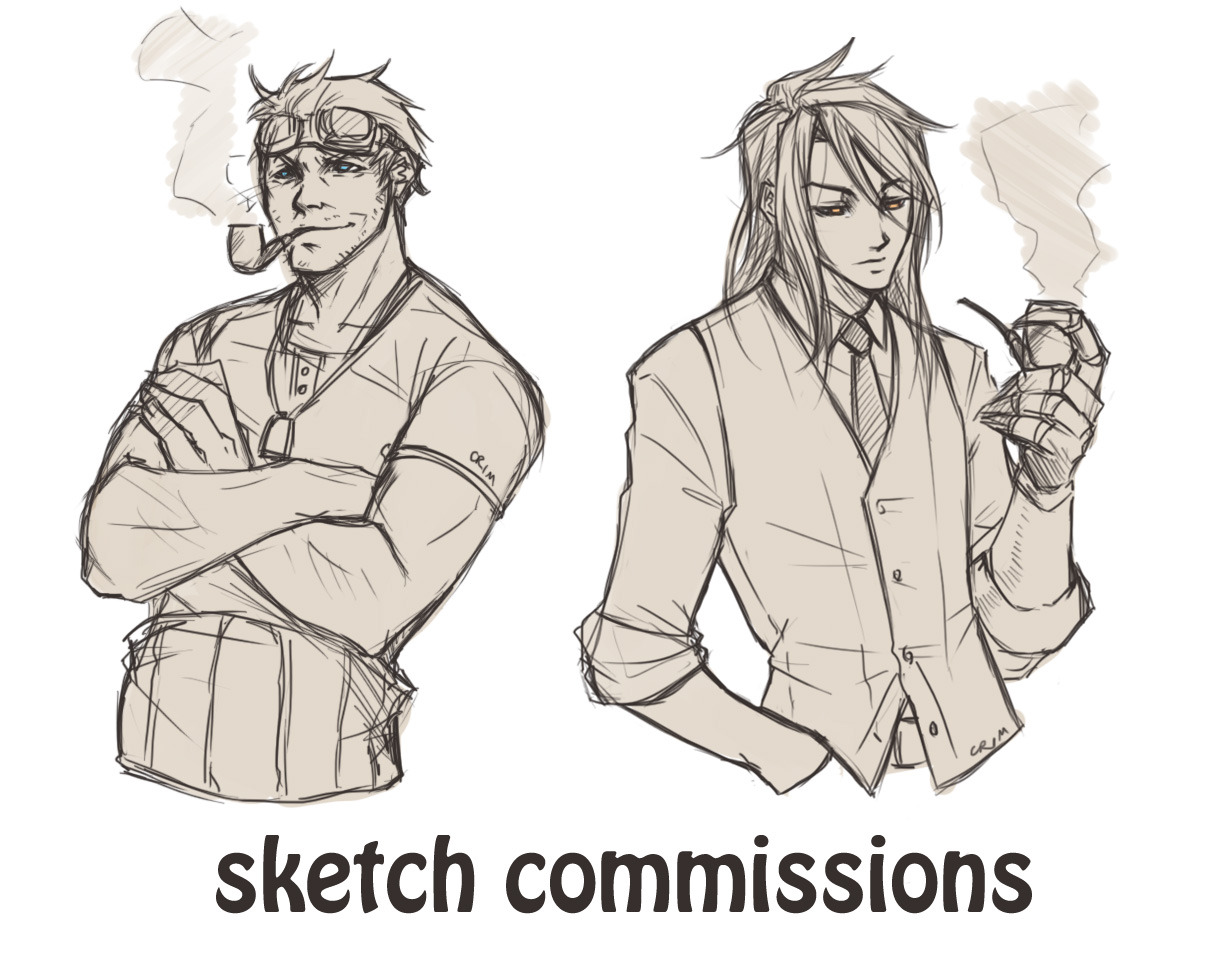 crimson-sun:  Opening a batch of sketch commissions! Quality of lines/colour as the pictures depict. Cid and Vin are examples of fine gentlemanly busts. Twenty slots available. I may open more depending on how many people (if any…) are interested. Please read the details carefully before you decide to commission! Prices: Each single character bust is $12 USD. (Add $10 USD for each additional character bust in the same picture.) Each single character full-body is $18 USD. (Add $16 USD for each additional character full-body in the same picture.) NOTE: maximum three characters per picture.  Backgrounds can be done on negotiation, but be prepared to add at least another 50% on top of the base price. Process:  Send me an email (paradigm_paralysis@live.com.au) titled 'commission', with the type of commission you want (bust or full-body), and the number of characters. Also give me details - descriptions of the character/s (physical attributes and personality too if you think it'd help), reference pictures, how you'd like the character/s to be posing, etc. Or you can leave it up to me, especially if you know I know the character/s well. I will send an email back accepting the commission, and confirming payment amount. Paypal is the only payment option I'm accepting. After receiving my confirmation email, please pay upfront to my email (paradigm_paralysis@live.com.au). I will begin your commission when I receive your payment. When I receive your payment, I will sketch a very rough draft for you to look over. You can, at this stage, ask me to change things like pose, clothing, expression, etc. If this happens, I will draft another picture for you. You must then choose one of the two drafts I made to take to completion. Barring exceptional circumstances, I won't be offering refunds. Please be as specific as you can when you commission and familiar with my work, to avoid disappointment. I will draw: any fandom, original characters, light fluff (eg kissing and hugging etc). I will not draw: porn or other forms of NSFW. If you're not sure if something you want is porn or NSFW, please ask me. Please direct any general questions to my ask-box. Only email me if you're fully intending to commission. Thanks guys. Hopefully everything is clear, and I look forward to working with you should you decide to give me the honour. :)