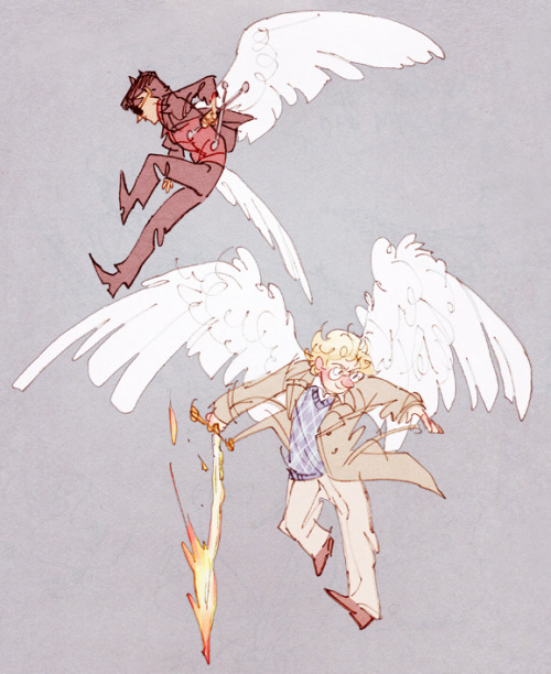 hoursago:   i admit the book never actually describes what their wings look like and for all we know aziraphale and crowley could have mallard wings so this is just headcanon (omg ducks…) but i love the idea that their wings are both crisp white, exactly the same, only one is nice and preened it just illustrates beautifully that they were the same and are the same…. even though crowley is a demon now he's still aziraphale's bro in the weirdo close way that all angels are bros and i feel this jarring disconnect when his wings are pitch black because it's like such a striking and standard heaven-vs-hell difference the feathers seem pointless aahhhh
