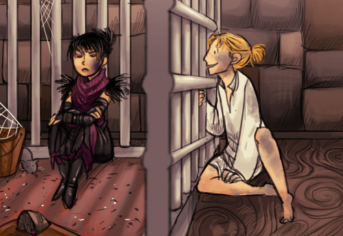 syberfag:  Teen Morrigan and Anders commission! of this scene Thanks! commissions still open, info here