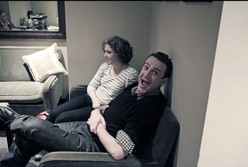 Vanessa Bayer and Jason Segel wait backstage before filming this week's promos.  Photo: Mary Ellen Matthews/NBC
