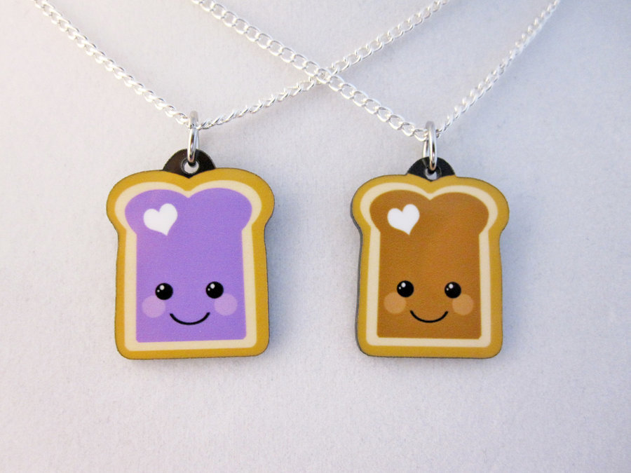 PBJ Best Friend Necklaces by *egyptianruin Available in my Etsy store: http://egyptianruin.etsy.com
