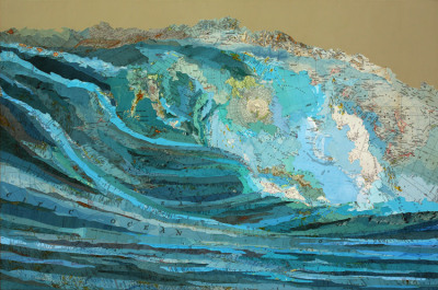 Kara's Wave, 2009, inlaid maps, acrylic, on panel, 24 X 36 inches. - Matthew Cusick