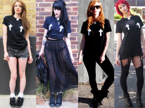 Back in black!  Restocked!! SMUT Naughty Vicar tee available from the SMUT Clothing UK online store » http://www.smutclothing.co.uk/product/smut-crucifix-nipple-t-shirt
