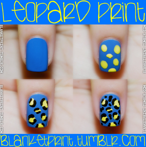 blanketprint:  Colors: Blagger (Butter London), Cheeky Chops (Butter London), Black Lingerie (Revlon) My leopard print manicure from about a month ago received several notes/reblogs, so I thought I'd create a tutorial for it. Plus, I believe someone requested an animal print tutorial, so here you go! :) Start by painting your nail with a base coat and then a base color. Once that has dried, use a contrasting color to paint on spots. You don't need a dotting tool or anything to do this. Just use the nail polish brush to plop on messy spots as I have. Once that dries, use a dotting tool, toothpick, striper, or small paint brush to create parenthesis-like shapes around your spots. Add dots/blobs to fill in any empty spaces/gaps. Seal in your design with a top coat, and you're all set! Helpful tips: Pay attention to how far apart your leopard spots are. You don't want your nail to look too busy, and you also don't want your spots so close that all the details end up touching. Also, when choosing colors, make sure your leopard spot color contrasts with your base color and isn't too similar to whatever color you're using to create your parenthesis-like shapes and dots/blobs.