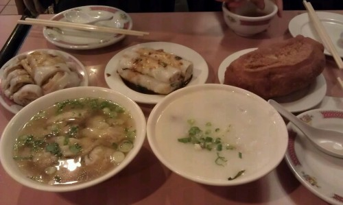 Chinese Breakfast: congee, rice crepes, wontons, and fried sweet dough!
