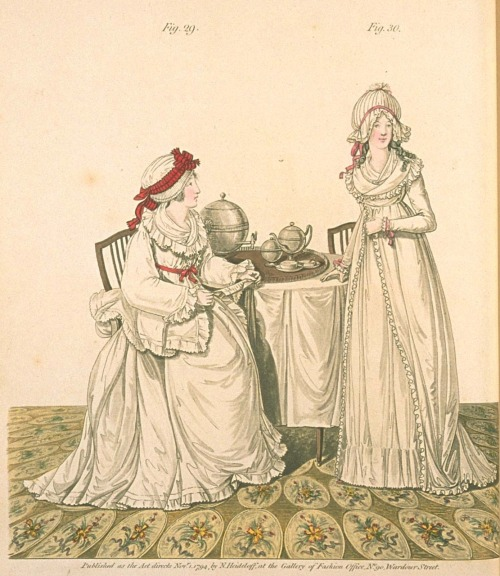 """Breakfast in the Dressing Room"" Gallery of Fashion, November 1794.  A reader on the Facebook Page asked for images of Regency dressing gowns.  Unfortunately this is the only one that I can think of, and it is from 1794, so too early!  Nora, I'll keep looking and if I find anything I will certainly post it.  Does anyone have a fashion plate or a link to an extant Regency-era dressing gown?"