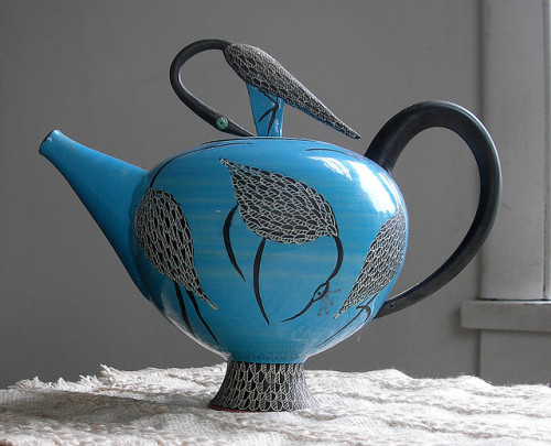 berengia:  Blue Teapot - with Herons by minnetonkafelix on Flickr.