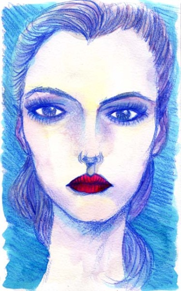 *Blue Veins* Portrait Watercolor, color pencils