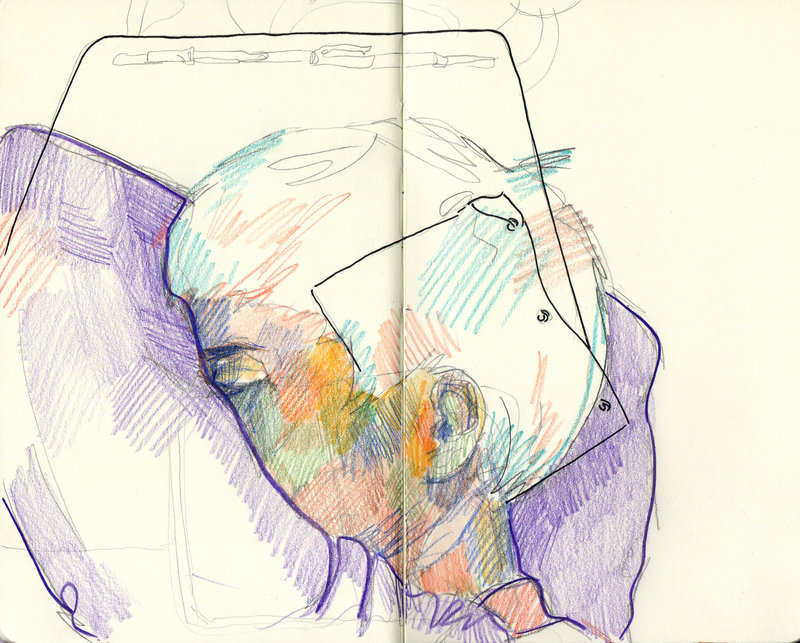 Don't fall asleep in class ;) Colored pencil and Ink. 2011
