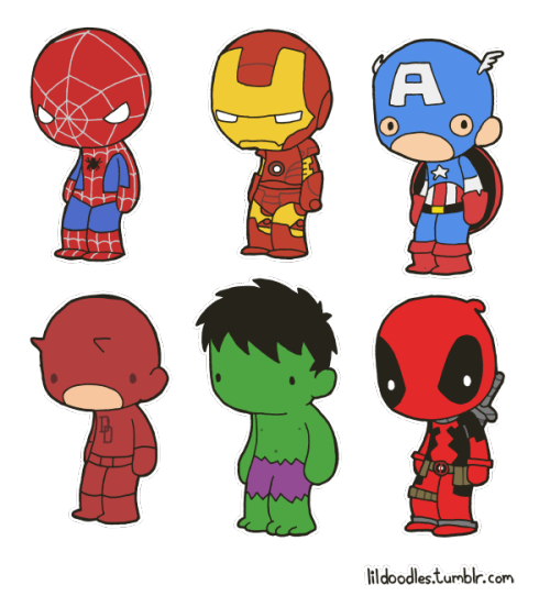 charalanahzard:  lildoodles:   Re-release! Lil' Marvel: Heroes and Antiheroes booster pack! This pack includes Spider-Man, Iron Man, Captain America, Daredevil, The Incredible Hulk and Deadpool! Like these? Get the stickers! Spidey and Iron Man Cap and Daredevil Hulk and Deadpool Collect them all! Related booster packs: DC   I want ALL the stickers :')