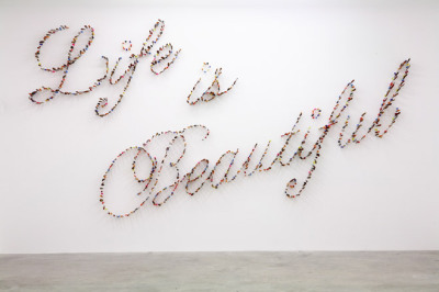 """life is beautiful"" by farhad moshiri (via tylerelizabeth) iranian artist farhad moshiri's 'life is beautiful' work features hundreds of knives stabbing the walls at the pinault foundation's palazzo grassi"
