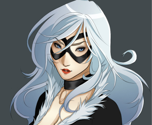saltandguns:  Black Cat WIP because college works can wait.  Well this is gorgeous and deserves more notes. Look at her face, guys.