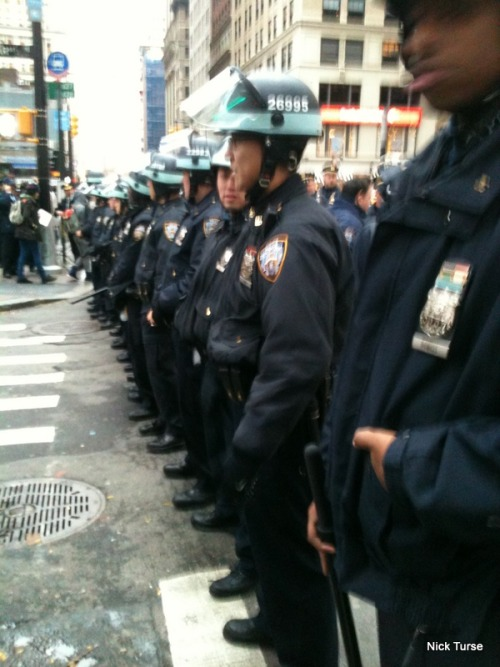 "A line of NYPD officers block off Liberty Street, next to Zuccotti Park, on Occupy Wall Street's November 17, 2011 ""Day of Action."" (Yes, it really is named Liberty Street!)"