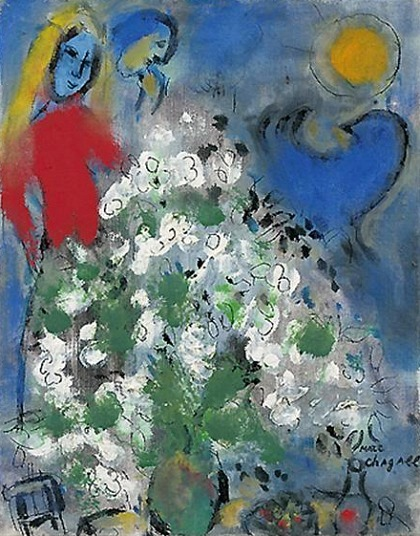Marc Chagall Blue Rooster and White Flowers 1957