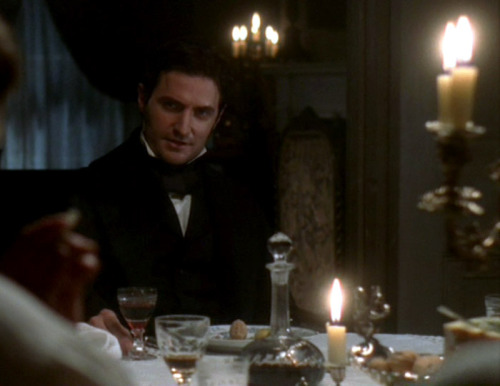 "From the DVD commentary, North & South director Brian Percival on filming the dinner scene with the mill owners: Poor Richard. When we shot this we tend to go around and shoot everybody after we'd done a wide shot, a master shot, and Richard sat there most of the day. It took practically a whole day to shoot this scene and we got to him last. I think he played it wonderfully. There's a dark side to him, a threatened side. And that mystery and intrigue we tried to enhance by moving the camera constantly around them apart from this point where there's a ""But…"" and it requires us to stop.But towards the end of the day I looked down at Richard's plate in front of him and he'd been making little faces out of Stilton [cheese]! He was a little bit bored at one point."