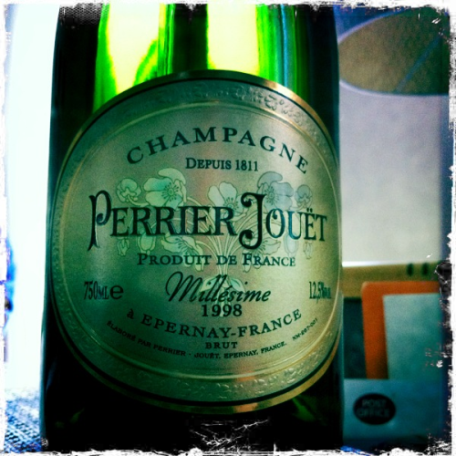 Perrier Jouet Millésime 1998   Well this is certainly a very fitting bottle to have picked to celebrate my first day as a married man!  Only Champagne would have done today having spent all afternoon opening our presents and just recapping the whirlwind last 24 hours.  It's a rare treat drinking 13 year old Champagne. Let's hope the age isn't a sign for the future! This has lovely deep apple notes with bready hints. It's a rich wine with a slight very subtle fizz.  This is a decadent seeming Champagne and to be honest it's been perfect for the occasion that this weekend has been.  To sum up, this is special, and so was yesterday!….