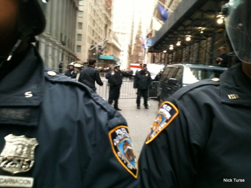 "The NYPD locks down Wall Street on the November 17, 2011 ""Day of Action."""