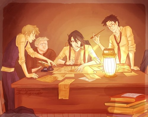 A great illustration of my Marauder boys. adelz2:  (via the making of the marauders map by *viria13 on deviantART)