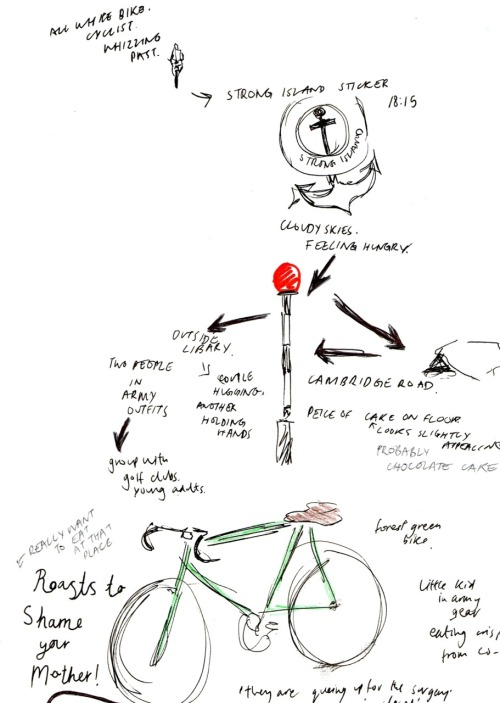 Notes and observations from a walk around town. Saw a pretty dark green bike…mmm