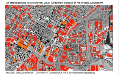 off-street parking in downtown and nearby portions of New Haven, Connecticut, 2008 (McCahill, Blanc, and Garrick, UConn) off-street parking has nearly quadrupled since 1951 via New Urban Network